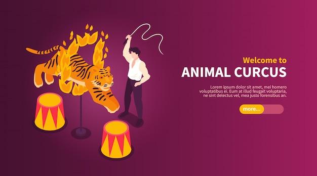 Isometrische circusartiesten tonen horizontale banner met afbeeldingen van wild dier temmer en tijger met tekst vectorillustratie Gratis Vector