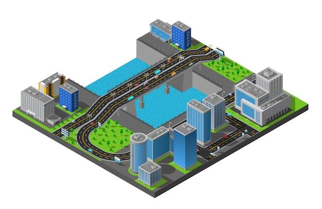 Isometrische city bridge-illustratie Gratis Vector