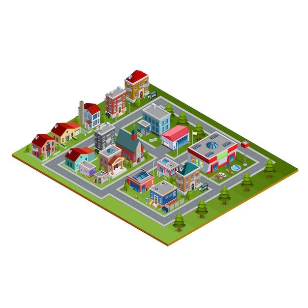 Isometrische cityscape illustratie Gratis Vector