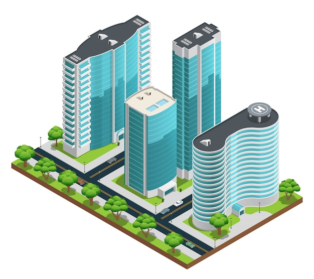 Isometrische cityscape samenstelling met moderne wolkenkrabbers en groene werven op witte achtergrond Gratis Vector