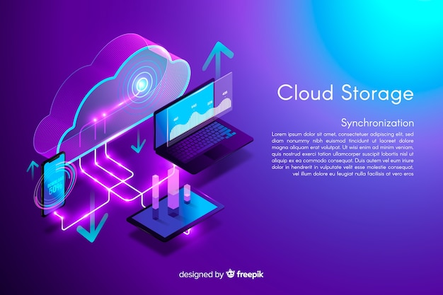 Isometrische cloud-opslag achtergrond Gratis Vector