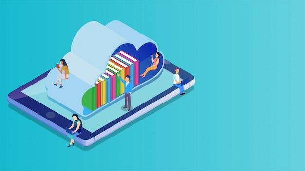 Isometrische cloudbibliotheek op het smartphonescherm. Premium Vector