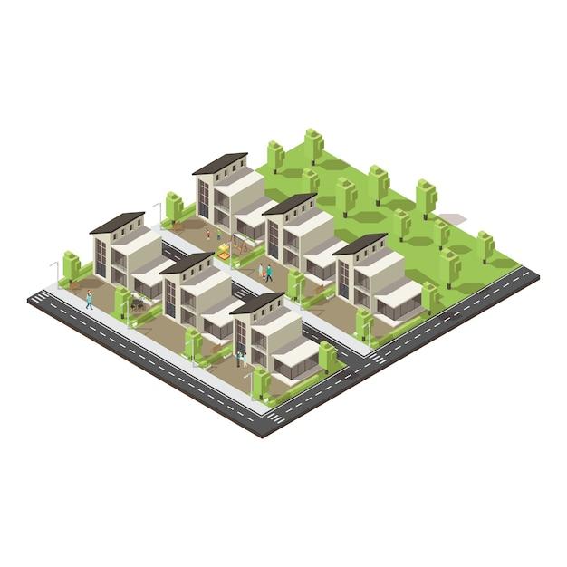 Isometrische complexe gebouwen in de voorsteden concept Gratis Vector