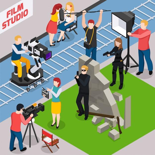 Isometrische compositie van filmstudio met geluidstechnicus van acteurs en videografen tijdens het maken van films Gratis Vector