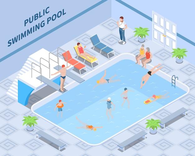 Isometrische compositie van openbaar zwembad met trainerbezoekers tijdens zwem- en rustinterieurelementen Gratis Vector