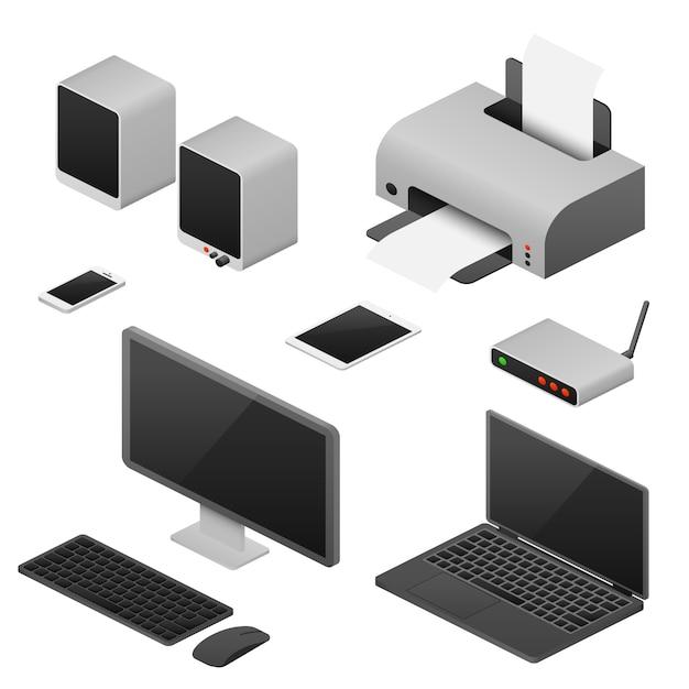 Isometrische computer van het digitale werkstation, kantoorbenodigdheden Premium Vector