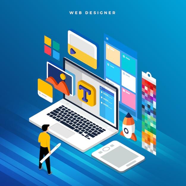 Isometrische concept web er. illustratie. ontwerp van de website-indeling. Premium Vector