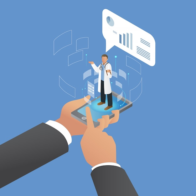 Isometrische consultatie met artificial intelligence doctor Premium Vector