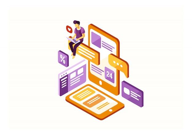 Isometrische content creator Premium Vector