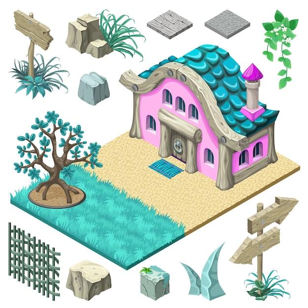 Isometrische cottage en elementen ontwerp. Gratis Vector