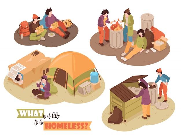 Isometrische daklozen ontwerpen concept met menselijke personages afvalbakken en kamp tenten afbeeldingen met tekst vectorillustratie Gratis Vector