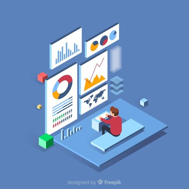 Isometrische data visualisatie concept achtergrond Gratis Vector