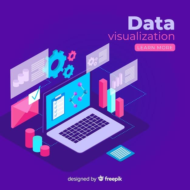 Isometrische data visualisatie elementen achtergrond Gratis Vector