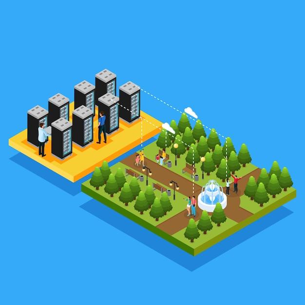 Isometrische datacenter hosting servers concept met mensen die cloudtechnologie gebruiken op hun draagbare apparaten in geïsoleerd park Gratis Vector