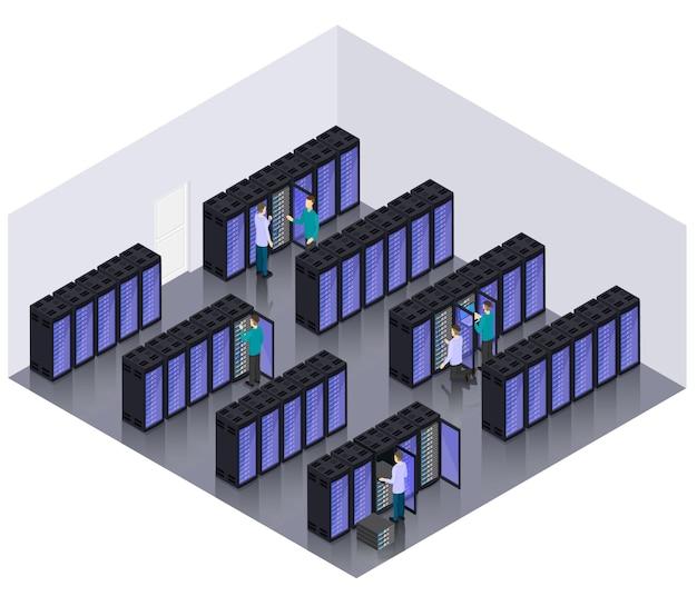 Isometrische datacenter hosting servers kamer concept Gratis Vector