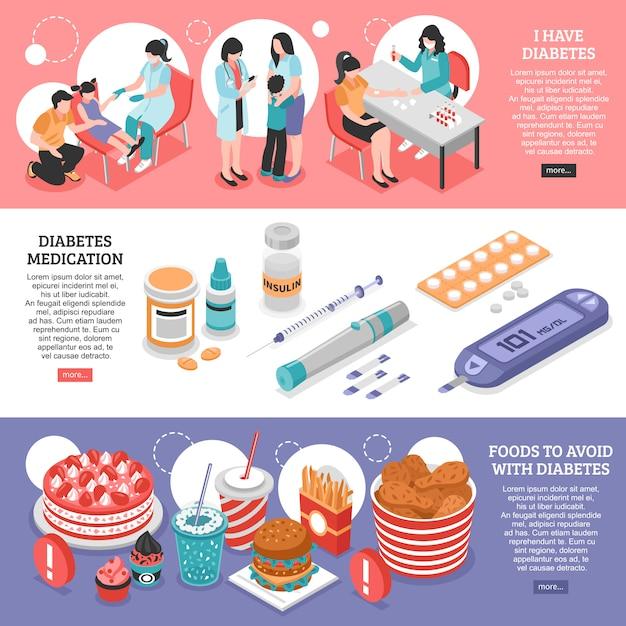 Isometrische diabetesbanners Gratis Vector