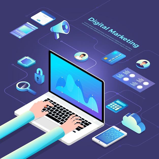 Isometrische digitale marketing Premium Vector