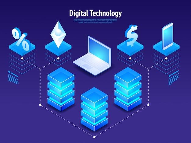 Isometrische digitale technologie Premium Vector