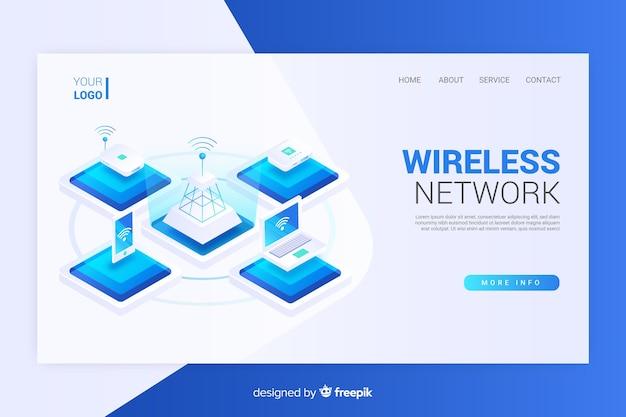 Isometrische draadloze netwerk-bestemmingspagina Gratis Vector