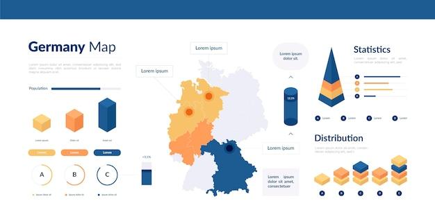 Isometrische duitsland kaart infographic Gratis Vector