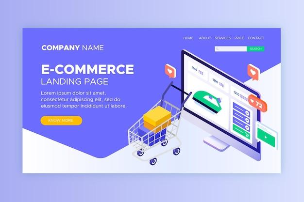 Isometrische e-commerce bestemmingspagina's Gratis Vector