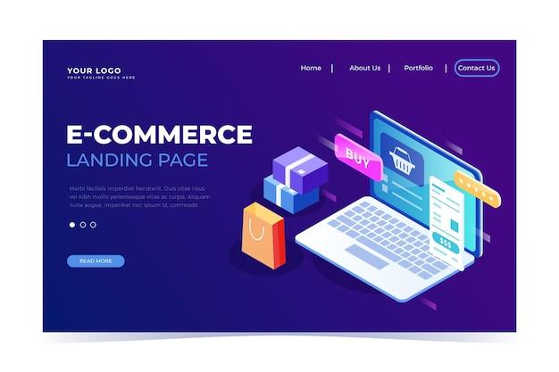 Isometrische e-commerce bestemmingspagina Gratis Vector