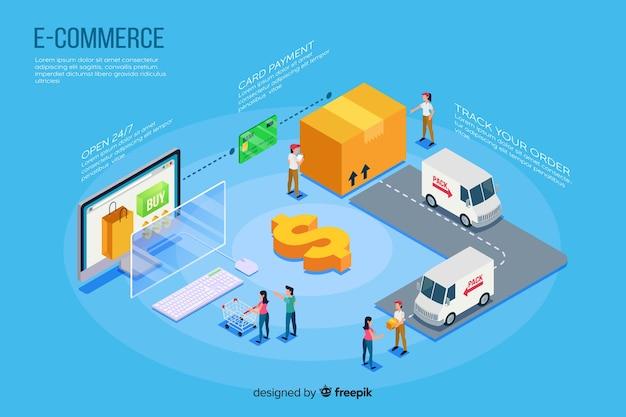 Isometrische e-commerce elementen achtergrond Gratis Vector