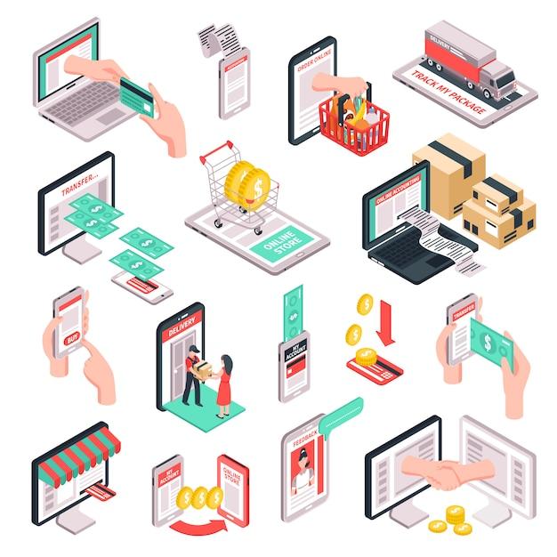 Isometrische e-commerce winkelen set Gratis Vector