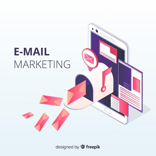 Isometrische e-mailmarketing Gratis Vector