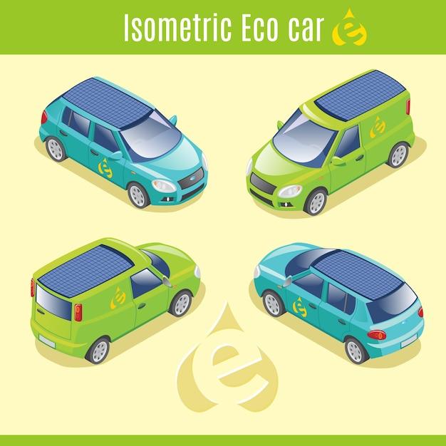 Isometrische eco elektrische auto's collectie Gratis Vector