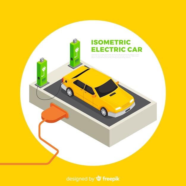 Isometrische elektrische autoachtergrond Gratis Vector