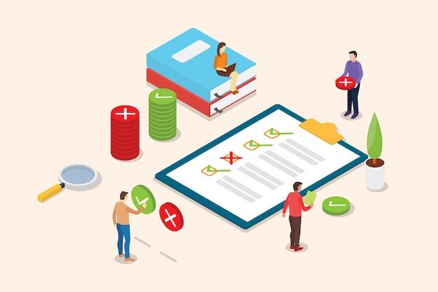 Isometrische enquête mensen op het klembord met checklist Premium Vector