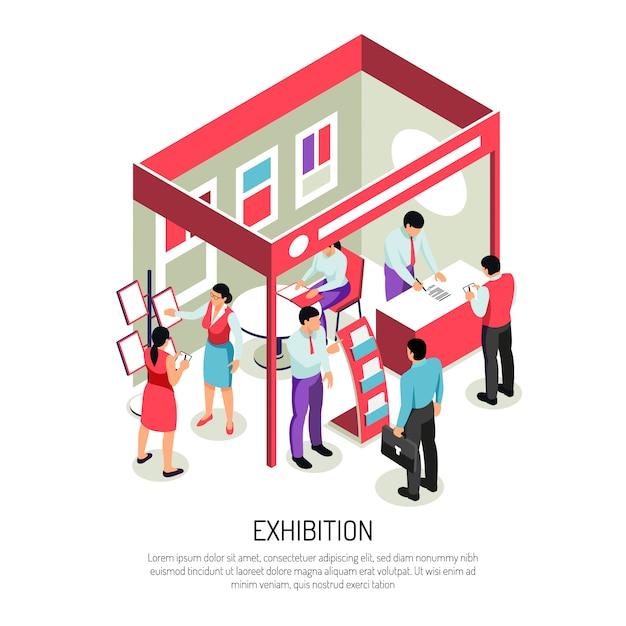 Isometrische exposamenstelling met bewerkbare tekst en weergave van tentoonstellingsdisplay met infostandsrekken Gratis Vector