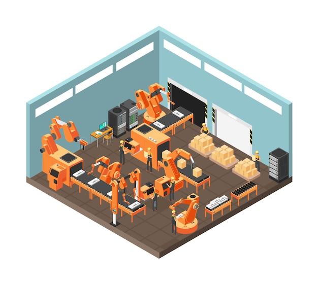 Isometrische fabrieksworkshop met lopende band, arbeiders, elektronika en controlerende computerservers. vector illustratie Premium Vector