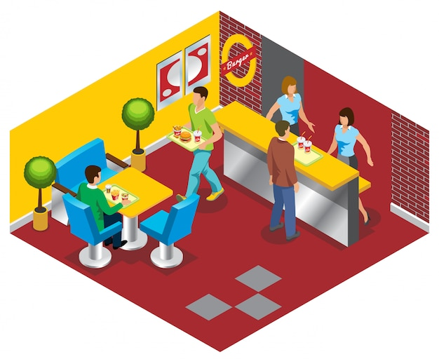 Isometrische fastfood restaurant concept met werknemers mensen kopen en eten hamburgers frisdrank salade frietjes Gratis Vector