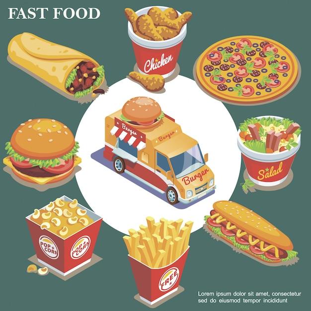 Isometrische fastfood samenstelling met straatvoedsel vrachtwagen doner kippenpoten pizza salade hotdog frietjes popcorn emmer hamburger geïsoleerd Gratis Vector