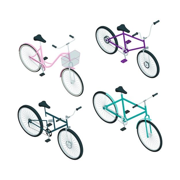 Isometrische fietsen. Premium Vector