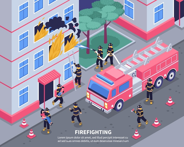 Isometrische firefighter illustratie Gratis Vector