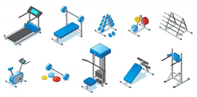Isometrische fitnessapparatuur collectie met loopband halters halters hometrainer en verschillende trainers geïsoleerd Gratis Vector