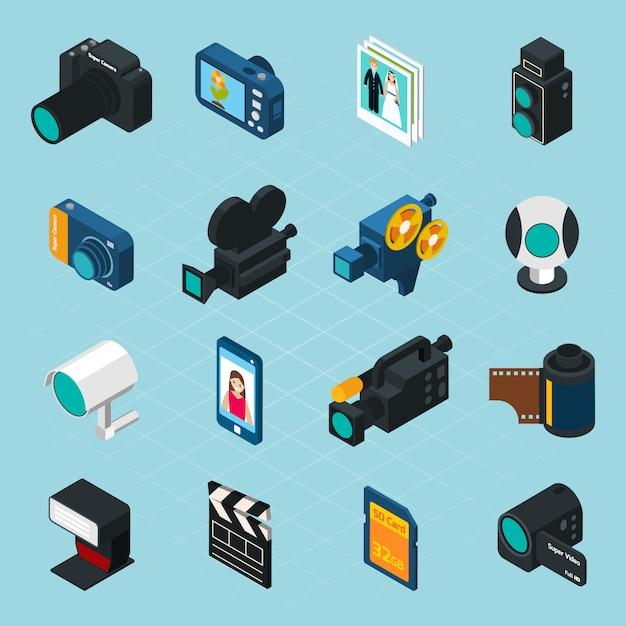 Isometrische foto- en video-iconen Gratis Vector