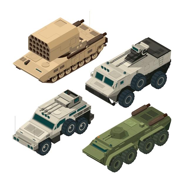 Isometrische foto's van leger zware voertuigen. vectorafbeeldingen instellen Premium Vector