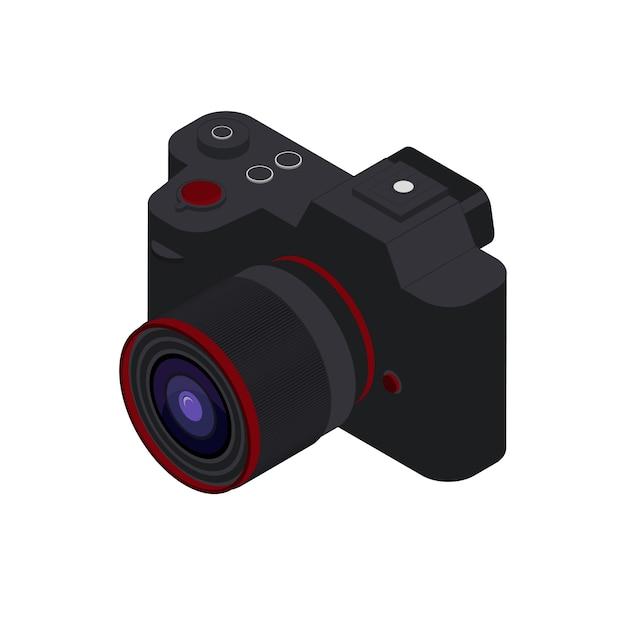 Isometrische fotocamera vectorillustratie. zwarte isometrische camera zonder spiegel. Premium Vector