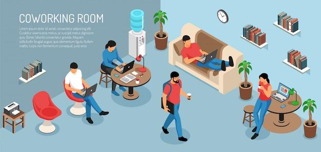 Isometrische freelancer horizontale compositie met bewerkbare tekst en binnenlandse kamer interieur met jongeren op het werk Gratis Vector