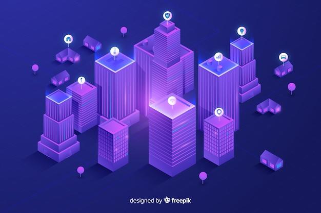 Isometrische futuristische stadsachtergrond Gratis Vector