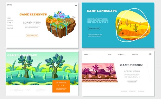 Isometrische game nature design websites met verschillende gronden mineralen stenen woestijn rivier fantasie bos en bergen landschappen Gratis Vector