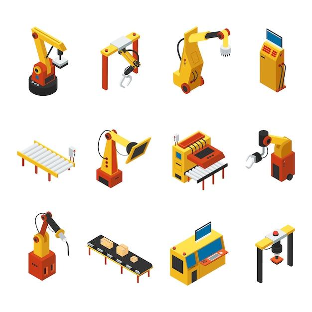 Isometrische geautomatiseerde machines set Premium Vector