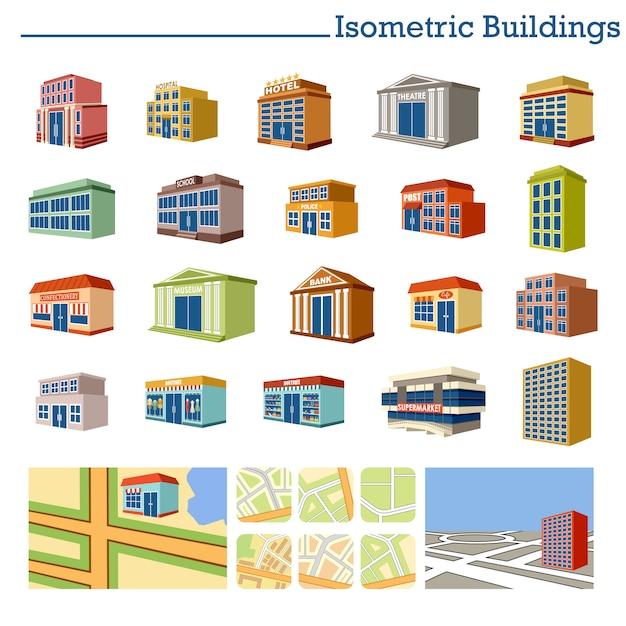 Isometrische gebouwen en kaarten. Premium Vector