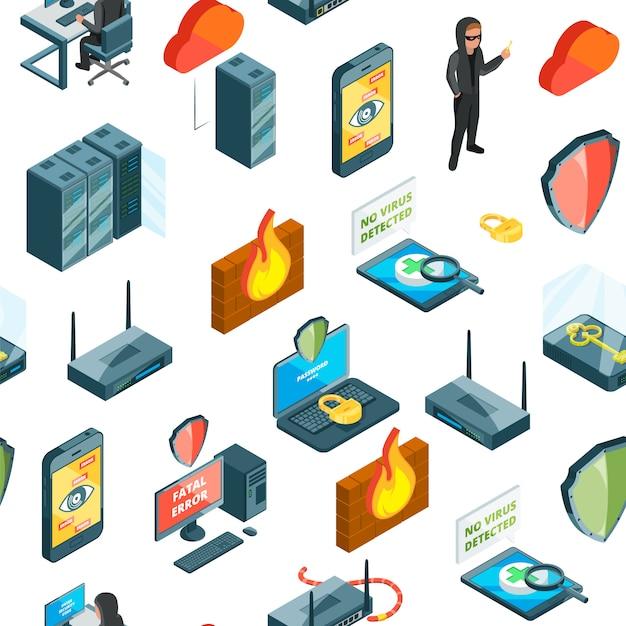 Isometrische gegevens en computer veiligheid pictogrammen patroon of Premium Vector