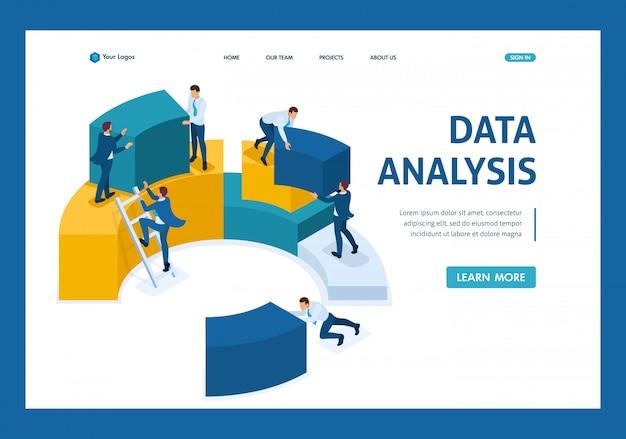 Isometrische gegevensanalyse, gegevensverzameling voor analyse, werknemers werken bestemmingspagina Premium Vector