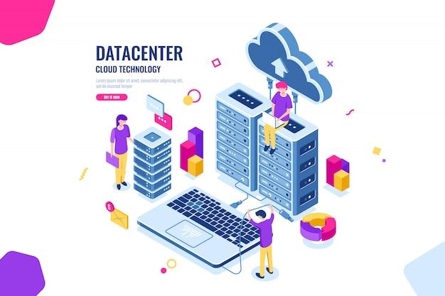 Isometrische gegevensbeveiliging, computeringenieur, datacenter en serverruimte, cloud computing Gratis Vector